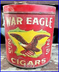 Vintage 1920's War Eagle Cigars Red Litho Tin Can Humidor Advertising Canister