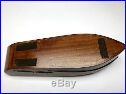 Vintage 1958 Cigar Humidor Queen Nicotine Mahogany Boat Ship Ashtray Man Cave