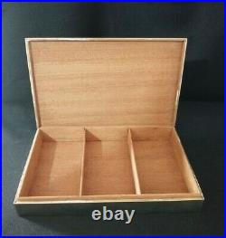 Vintage 1970 Hermes Gold & Silver Plated Horse Head Equestrian Cigar Box Humidor