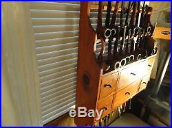 Vintage 29 Smokeing Pipes Rack & Storage / 4 Glass Jars & 2 Storage Drawers