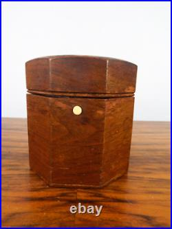 Vintage Alfred Dunhill Tobacco Humidor Wooden Octagonal Push Button 1940s Box