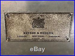 Vintage Antique Benson & Hedges Cigar Tobacco Humidor Tin Copper Lined Mahogany