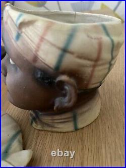 Vintage Black Americana Figural Ladies Head Tobacco Humidor Jar