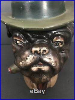 Vintage Ceramic Pottery Bulldog Cigar Humidor Smoking Tobacco Jar