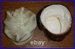 Vintage Ceramic Tobacco Jar Of Black Man In Hat & Bowtie 4444