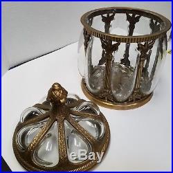 Vintage Glass & Brass Ornate Tobacco Humidor Tea Candy Storage Jar 13.5 India