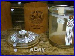 Vintage Glass Cigar Jar Tobacco Still has Labels & Original Wood Lining 30% OFF