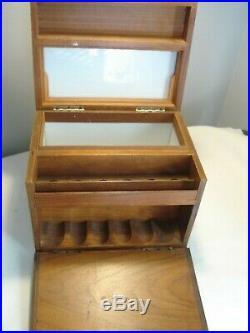 Vintage. Hardwood. 6-Slot. Pipe. Rack. &. Lined. Humidor. Box