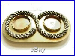 Vintage Hermes 60s Brass Silver Rope Scotch Candle Valet Stowage Holder Tray
