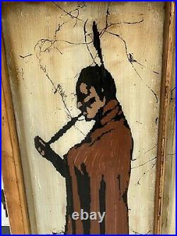 Vintage INDIAN CIGARS Reverse Painted Window Sign Tobacco Store Man Cave