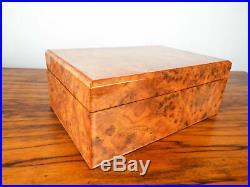 Vintage Italian Birds Eye Maple Wood Cigar Humidor Cigarette Box Man Cave Decor