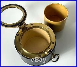 Vintage Leather Brass Porthole Humidor Tobacco Lidded Jar Dunhill Cigar