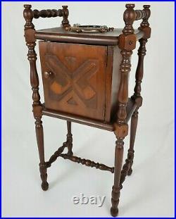 Vintage Mahogany Wood Smoking Ashtray Stand Pipe Tobacco Humidor Cabinet