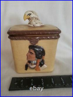 Vintage Majolica Native American Indian Humidor Lidded Tobacco Pipe Jar Canister