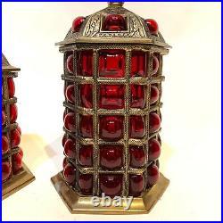 Vintage Ornate Tobacco 2 Jar Set Brass & Ruby Bubble Glass