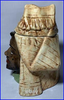 Vintage Pottery Head Arab / Shiek in Headdress Tobacco Jar Excellent Condition