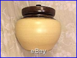 Vintage Pottery Humidor Unique Lock Top with Brass Tightener Aonian Reg England