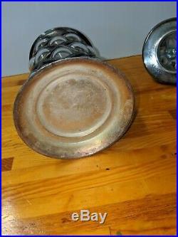 Vintage Silver Bubble Glass Covered Tobacciana Jar Unique Beautiful Design