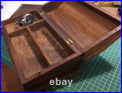 Vintage Solid Timber & Brass Table Humidore Cigars Cigarettes Secret Compartment