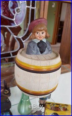 Vintage Terracotta BUSTER BROWN Humidor Tobacco Jar Jon Maresch #3501 Rare