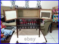 Vintage Tobacco Cabinet Smoke Stand Metal Inside Humidor Double Doors