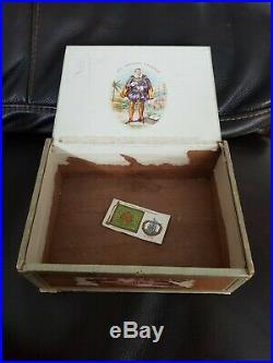 Vintage Used Cigar Box Sir Walter Raleigh Tobacco Humidor Smoking Collectables