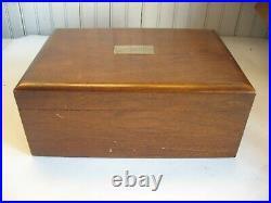 Vintage Walnut wooden brass cigar humidor box milk glass lined Mono WMO