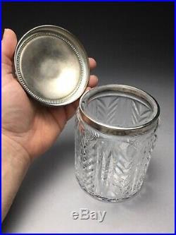 Vintage Waterford Irish Crystal Cigar Humidor Silverplate Lid