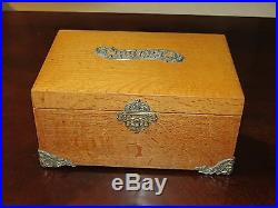 Vintage Wood Cigar Box Humidor with Metal Liner & Antique Silverplate Filigree