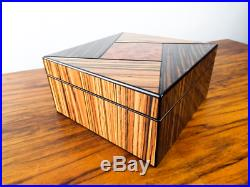 Vintage Wood Humidor Travel Small Storage Case Inlaid Box Exotic Wood Veneers