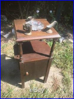 Vintage Wood Pipe Smoking stand with Glass Ash Tray Humidor pipe night stand