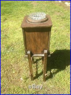 Vintage Wood Smoker Smoking Stand Cabinet Humidor Cabinet Side Table ash tray