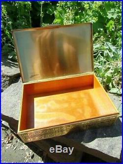 Vintage german Art Deco Gilt Brass Cigarette Cigar Box Humidor