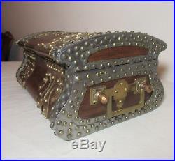 Vintage handmade wood brass steel copper Arts & Crafts Art Nouveau cigar box