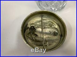 Vtg Art Nouveau Glass Humidor Tabacco Cigar Jar With Cherub On Metal Lid (A10)