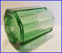 Vtg Elegant Green Depression Glass Tobacco Humidor Jar with Silverplate Pipe Lid