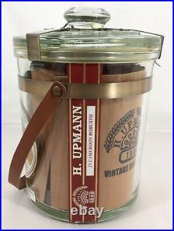 Vtg H UPMANN Cigar Tobacco GLASS Jar HUMIDOR Cedar Lined STORE Display HEAVY EX