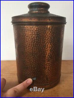 Vtg Humido Humidor Hammered Copper Lidded Tabacco Cigar Canister Storage Jar 8
