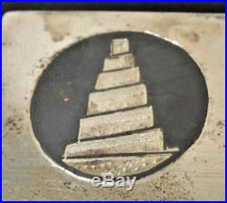 Vtg. Sterling Silver Niello Wood 15,5 x 9.5 Humidor cigar box-Egyptian