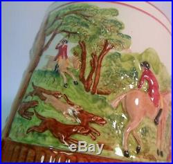 Vtg Tobacco HUMIDOR JAR FOX Hunt Wedgwood Horses Dogs England tally Ho