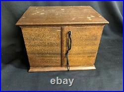 Vtg Wood Pipe Smoking Cabinet Cigar Box Accessories Humidor Key Display Storage