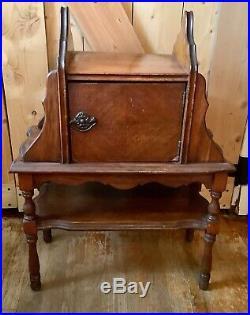 Vtg Wood Table Smoking Stand Metal Ashtray Tobacco Humidor or nightstand