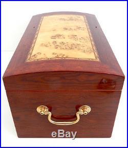 Walnut Burled Wood Burl Treasure Chest Style Cigar Humidor