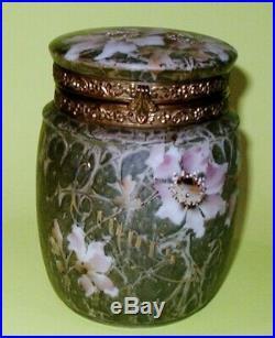 Wave Crest Kelva Art Gass Cigar Box Humidor Pink Flowers Brass Collar Signed